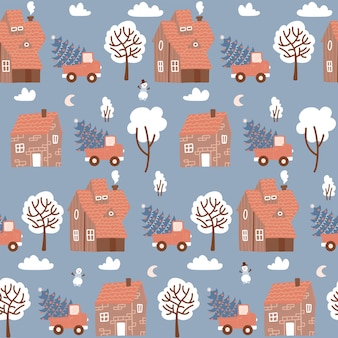 Seamless pattern with winter houses for christmas and red retro pickup with a fir tree christmas fab...