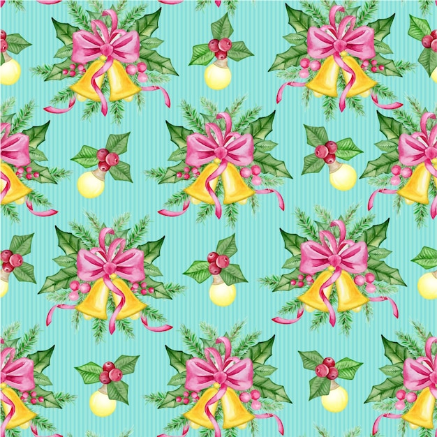 Seamless pattern with winter plants. christmas holiday decoration.