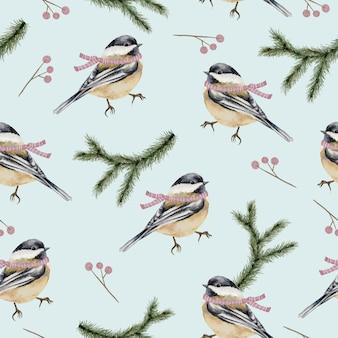 Бесшовный фон с зимними акварельными птицами и ветвями