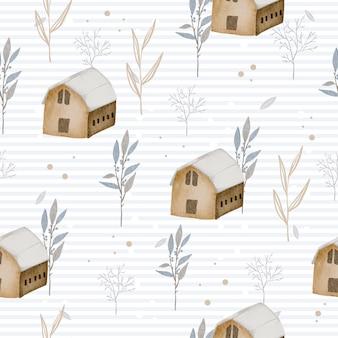冬の水彩画の家と葉とのシームレスなパターン