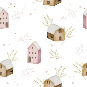 겨울 수채화 집과 잎 원활한 패턴