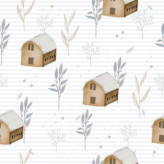 Seamless pattern with winter watercolor home and leaves