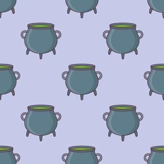 Seamless pattern with witch cauldron.