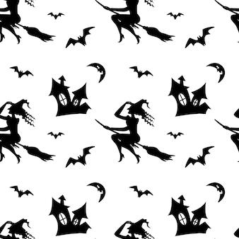 흰색 배경에 고립 된 빗자루 박쥐 달에 마녀와 함께 완벽 한 패턴