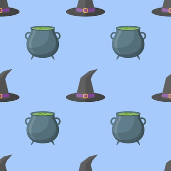 Seamless pattern with witch hat and cauldron.