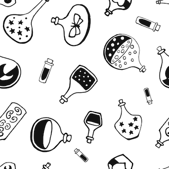 Seamless pattern with witch magic bottles and brew drink with potion. mystic background for halloween, esoteric, gothic and occult concept.