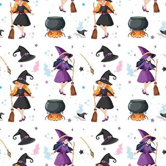 魔女と要素とのシームレスなパターン