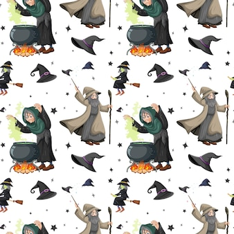 Seamless pattern with witches and elements