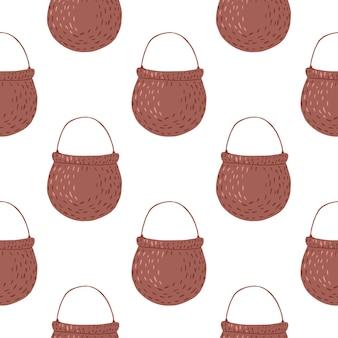 茶色の魔女の鍋飾りとのシームレスなパターン。