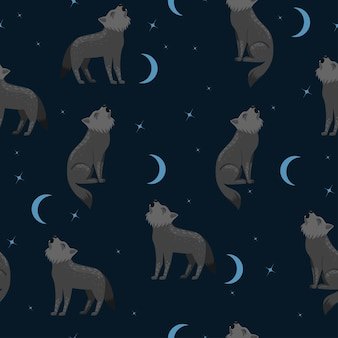 Seamless pattern with wolves howling at the moon.
