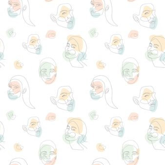 Seamless pattern with woman face and abstract color shapes background.  continuous one line art