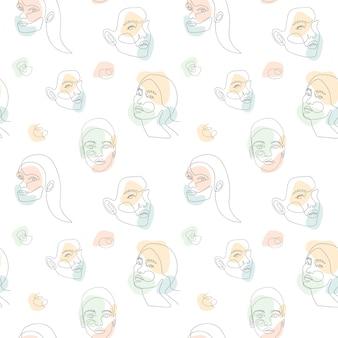 Бесшовные модели с лицом женщины и абстрактного фона формы цвета. непрерывная однострочная графика