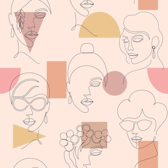 Seamless pattern with woman faces and geometric shapes