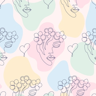 Seamless pattern with woman faces, hearts and abstract shapes on light background