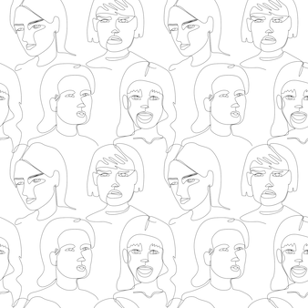 Seamless pattern with woman faces one line art portrait