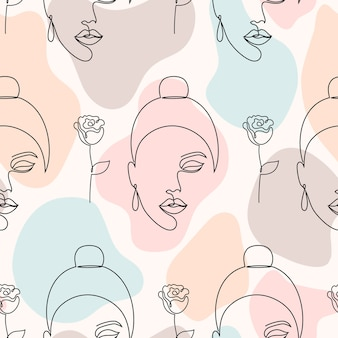 Seamless pattern with woman faces, roses and abstract shapes on light background