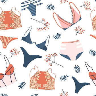 Seamless pattern with woman lingerie and underwear. background with stylish bras, panties and bikinis. hand drawn pattern for textile, t-shirt, wrapping paper. cute feminine undies set.