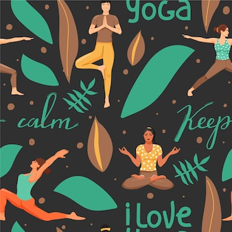 Seamless pattern with women in different yoga poses.
