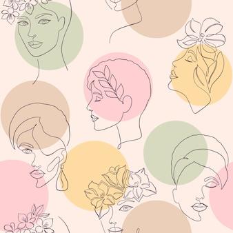 Бесшовный фон с женскими лицами и цветными кругами