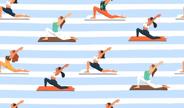 Seamless pattern with women practicing yoga.