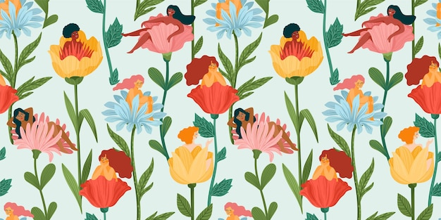 Seamless pattern with women sitting in flowers.
