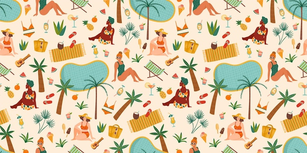 Seamless pattern with women in swimsuit on tropical beach