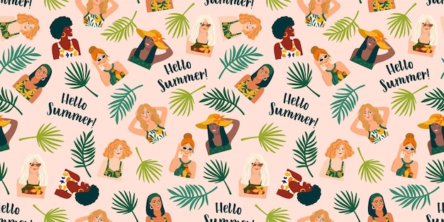 Seamless pattern with women in swimsuit and tropical plants.