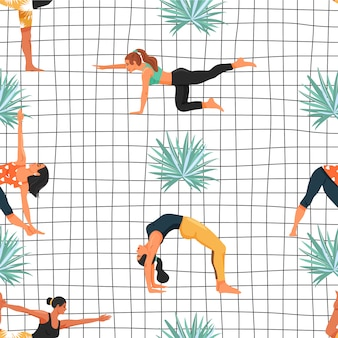 Seamless pattern with women in various yoga poses and palm leaf