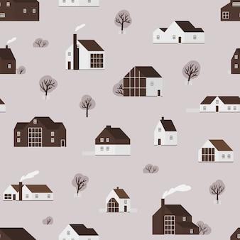 Бесшовный фон с деревянными жилыми домами или дачными коттеджами в скандинавском стиле