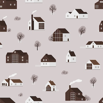 Seamless pattern with wooden living houses or suburban cottages in scandinavian style