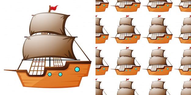 Бесшовный фон с деревянными кораблями