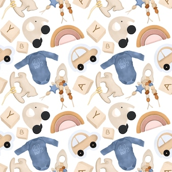 Seamless pattern with wooden toys and objects for boys