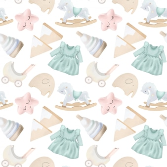 Seamless pattern with wooden toys and objects for girls
