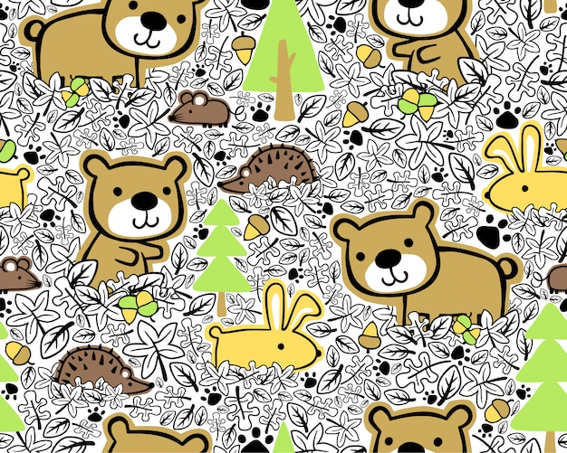 Seamless pattern with woods animals cartoon