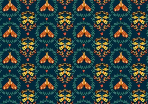 Бесшовный фон с венками и лунными мотыльками в зеленом и оранжевом фольклорном стиле скнавинского бохо