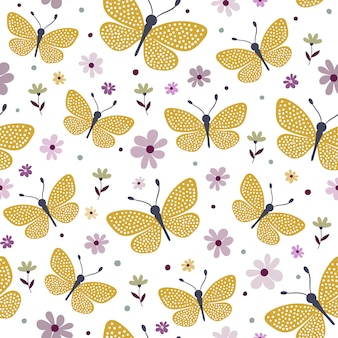 Seamless pattern with yellow butterflies and flowers