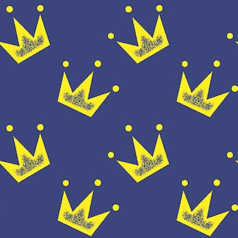 Seamless pattern with yellow crown on blue for wallpaper, wrapping paper, for fashion prints, fabric, design.