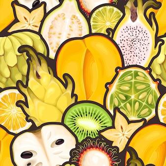 黄色のエキゾチックなフルーツとのシームレスなパターン