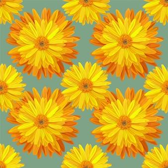 黄色い花のベクトル図とのシームレスなパターン