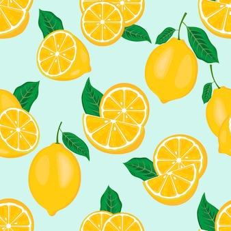 Бесшовный фон с ломтиками желтых свежих сочных лимонов