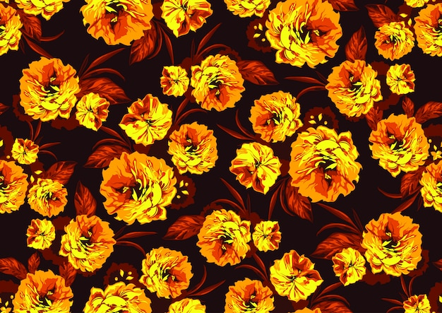 Seamless pattern with yellow garden flowers