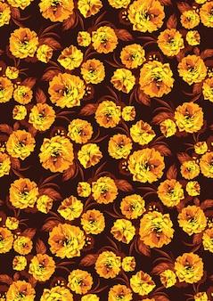 Seamless pattern with yellow garden flowers Premium Vector