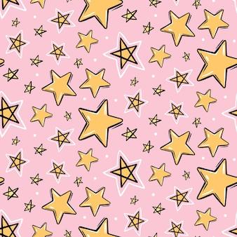 노란색 손으로 그린 별 완벽 한 패턴입니다.