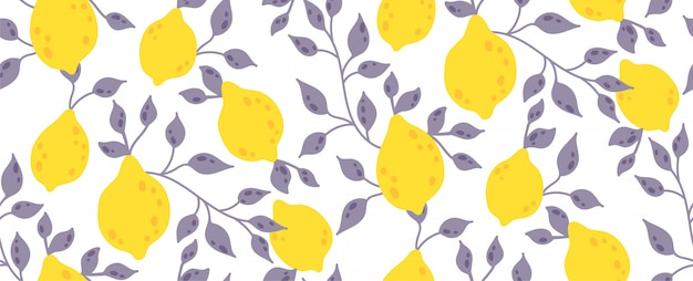Seamless pattern with yellow lemon fruit and leaves