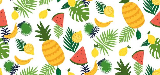 Seamless pattern with yellow lemon fruit