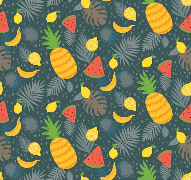Seamless pattern with yellow lemon fruit