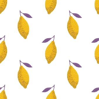 黄色いレモンとシームレスなパターン