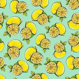 노란색 레몬, 전체 및 슬라이스로 된 매끄러운 패턴입니다. 흰색 바탕에 레몬 패턴입니다. 그래픽 스타일의 감귤류 벡터 일러스트와 함께 텍스처입니다. 섬유, 종이 및 인쇄를 위한 디자인