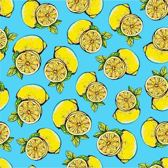 Seamless pattern with yellow lemons, whole and sliced. vector illustration
