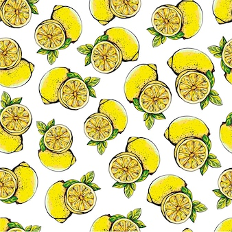 Seamless pattern with yellow lemons, whole and sliced on a white  background